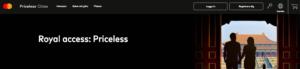 Priceless hemsida för Mastercard erbjudanden.
